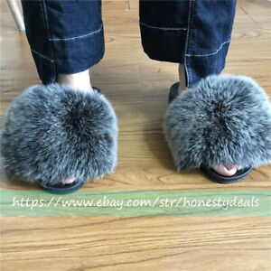 e747dc5b07c0f Details about Max Large ! black frost -Real FOx Fur Slides Slippers Sandals  Shoes Sliders