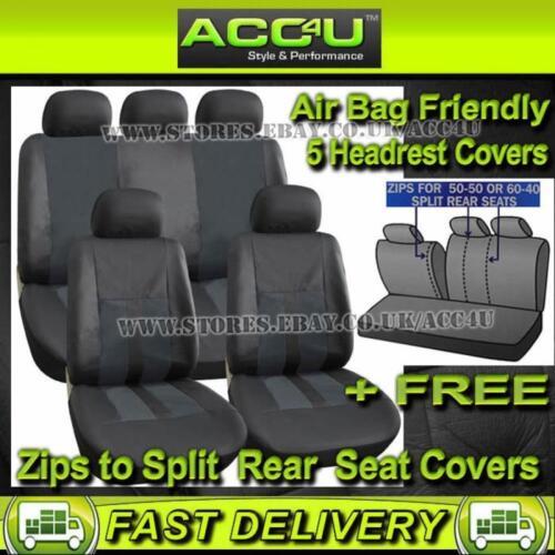 Plain Black Leather Look Airbag OK Car 50-50 60-40 Split Rear Seat Covers Set+FR