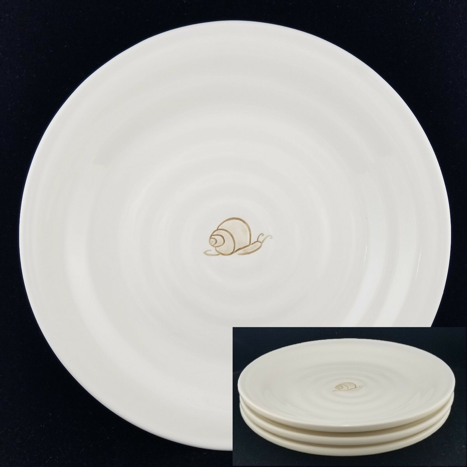 (3) Pottery Barn SNAIL GARDEN Salad Plates, Ribbed Off White 8.5  Round