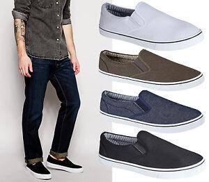 Mens-Boys-Slip-On-Casual-Skater-Espadrilles-Plimsolls-Trainers-Pumps-Shoes-Size