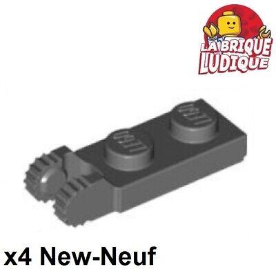 4x Charnière hinge plate lock 1x2 gris foncé//d b gray 44302 44301 NEUF Lego