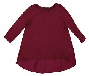 Alfani Solid Color 3/4 Sleeve Hi-Lo Hem Woven Back T-Shirt Top L NWT Malbec