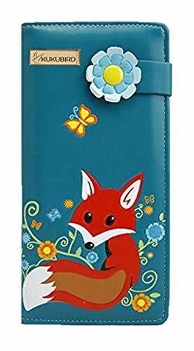 Kukubird Fox design avec Fleur Boucle grand Femmes Sac à main Clutch Wallet