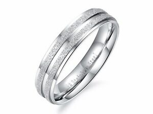 Details about Stainless Steel Double Sandblasting Frosting Lined Engagement  Band Couple Ring