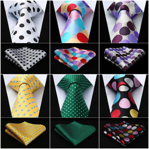 HISDERN-Polk-Dot-3-4-034-Silk-Woven-Wedding-Men-Tie-Necktie-Handkerchief-Set-RD1