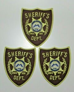 """THE WALKING DEAD SHERIFF BADGE EMBR. PATCH set of (2) 3 3/4"""" wide by 4 3/4"""" tall"""