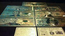 New Lot$1,2,5,10,20,50,$100 Banknote.Reps.*W/Coa+Tiny Silver Bar