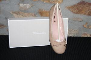 Details zu TAMARIS @ Damen Ballerina @ Dirndl Schuhe @ beige Tracht @ nude Lack @ 36 41