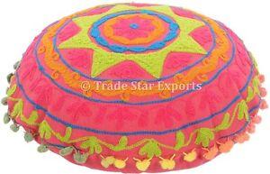 Embroidered Uzbek Suzani Round Mandala Cushion Cover Pink Floor ...