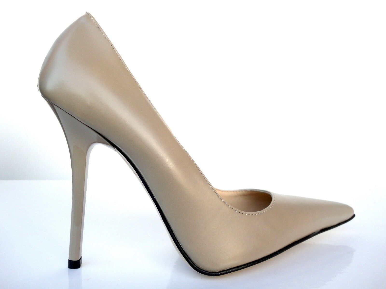 GIOHEL ITALY HIGH HEELS POINTY SCHUHE TOE PUMPS SCHUHE POINTY LEATHER DECOLTE BEIGE NUDE 39 882571
