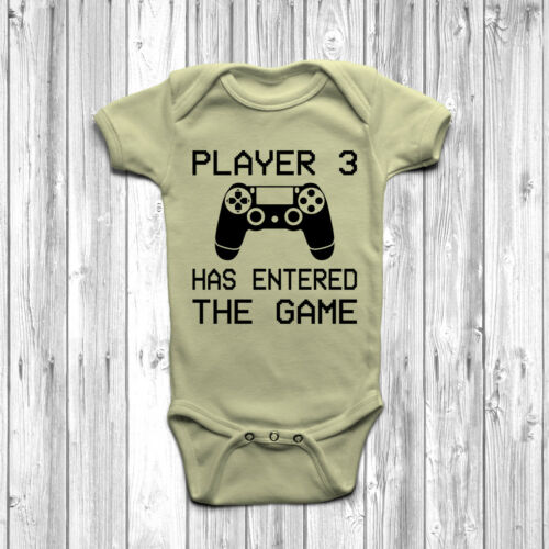 Player 3 Has Entered The Game Baby Grow Body Suit Vest Funny Geeky Humour PS