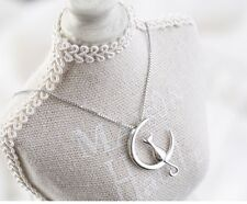 """Sterling silver Moon Cat Love pendant necklace 18"""" Chain Gift box L17"""
