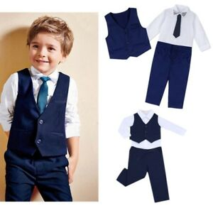 93b6a0ad7fbc Image is loading Kids-Boys-Gentleman-Formal-Outfits-Shirt-Waistcoat-Vest-