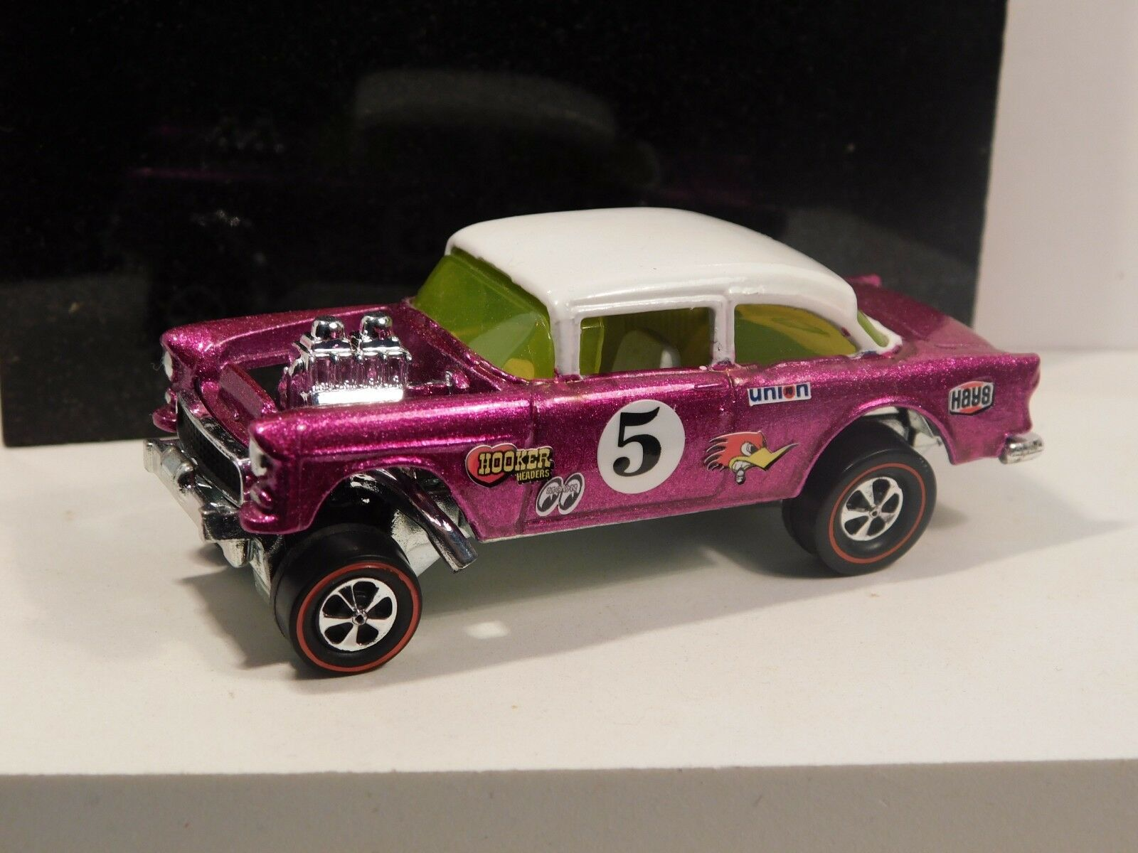 55 CHEVY BEL AIR GASSER Hot wheels rougeline professionnel Resto-Conversion Rose