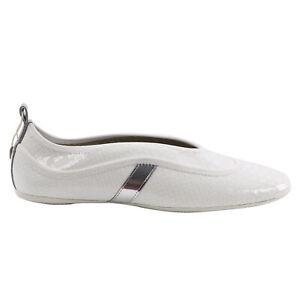 HOGAN Damen Lack Leder Ballerinas Slipper Schuhe X2B White Silver 0351