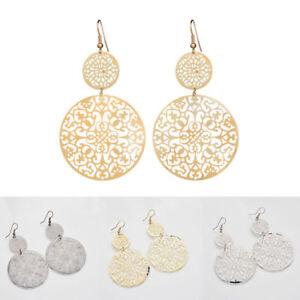 Fashion-Boho-Scrub-Long-Hollow-Round-Dangle-Vintage-Earrings-Women-Jewelry-JT