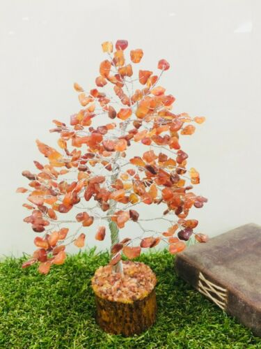Carnelian Silver Wire Feng Shui Reiki Healing Stone Bonsai Money Tree