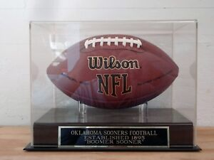 Details About Football Display Case W An Oklahoma Sooners 1895 Engraved Nameplate
