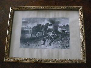 Rarität über 100 Jahre altes Bild Kriegsbild Druck auf  Passepartout im Rahmen