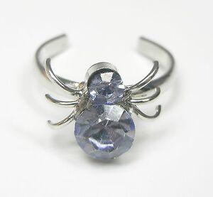 Aufstrebend Neu Süßer Zehenring Spinne Mit Strasssteine In Blau Strass Spinnen