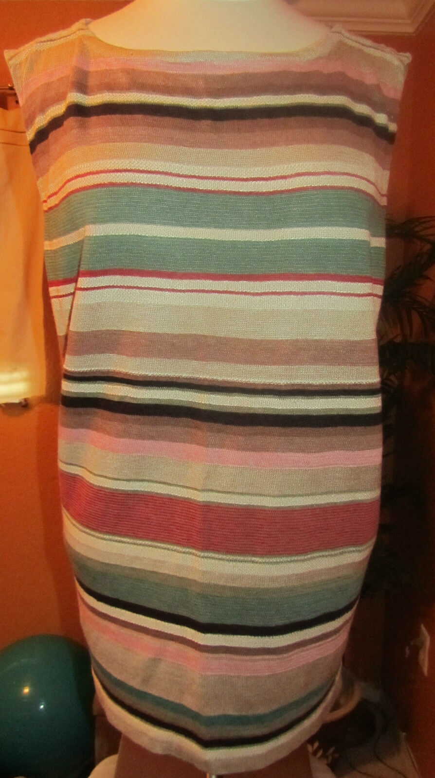 RALPH LAUREN NWT  1X silk & linen striped damen shirt light sweater top