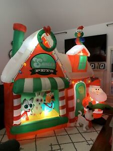 Gemmy Airblown Inflatable Santa's Pet Shop Scene Christmas Yard Decoration Huge!