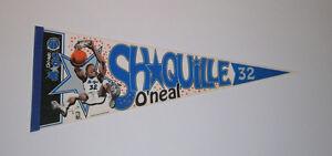 1992-MAGIC-Shaquille-O-039-Neal-ROOKIE-caricature-pennant-rare-Orlando-SHAQ