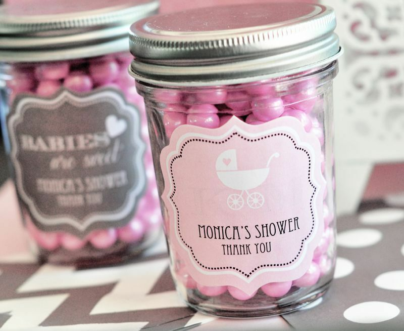 96 Personalized Baby Silhouette Mini Mason Jars Baby Shower Candy Jar Favors