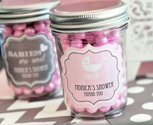 24 personalized baby silhouette mini mason jars baby shower candy