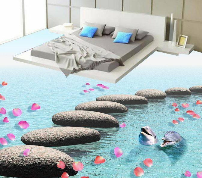 3D Stone Petal Dolphin 6 Floor WallPaper Murals Wall Print Decal 5D AJ WALLPAPER
