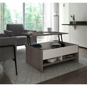 Bestar Small Space Lift Top Coffee Table In Bark Gray And White