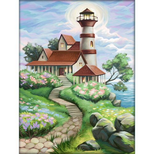DIY Full Drill Round Diamond Painting View Landscape Diamond Embroidery Mosaic