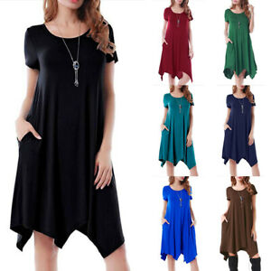 Women-Short-Sleeve-A-Line-Loose-Dress-Casual-Solid-Tunic-Sundress-Plus-Size