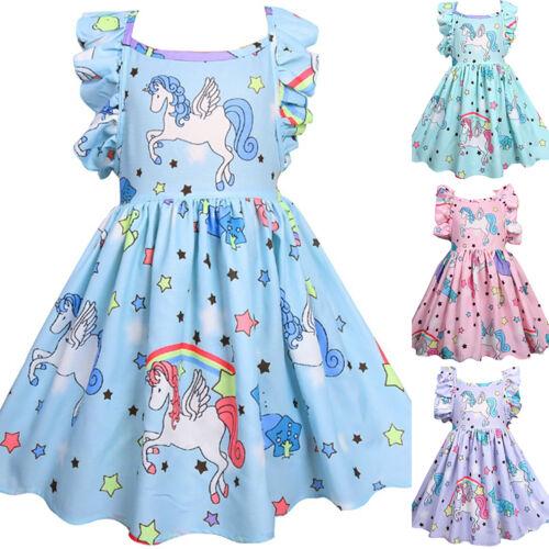 Toddler Kids Girls Clothes Frilled Unicorn Stars Printing Princess Party Dress