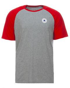 Details zu Converse CHUCK PATCH SS VINTAGE T Shirt Herren Freizeitshirt rot grau