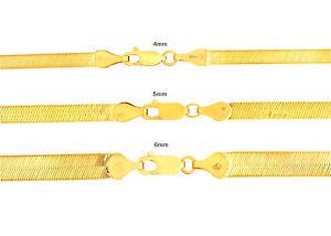 "10K Oro Amarillo Sólido 4mm-6mm Alto Brillo Seda Herringbone Cadena Collar 16-24"""