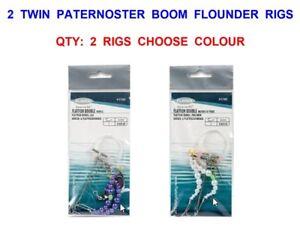 5 TWIN PATERNOSTER BOOM FLOUNDER RIGS DAB FLATFISH FLATTIE SPINNER BLADE LURES
