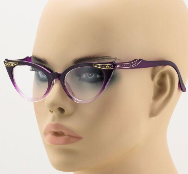 b580405ba8 50s Vintage Retro Women Cat Eye Clear Lens Rhinestone Fade Purple Eye  Glasses