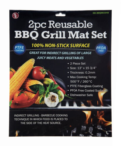 2 Pack of BBQ Grill Non Stick Cooking Mat Vegetables Camping Survival Stove