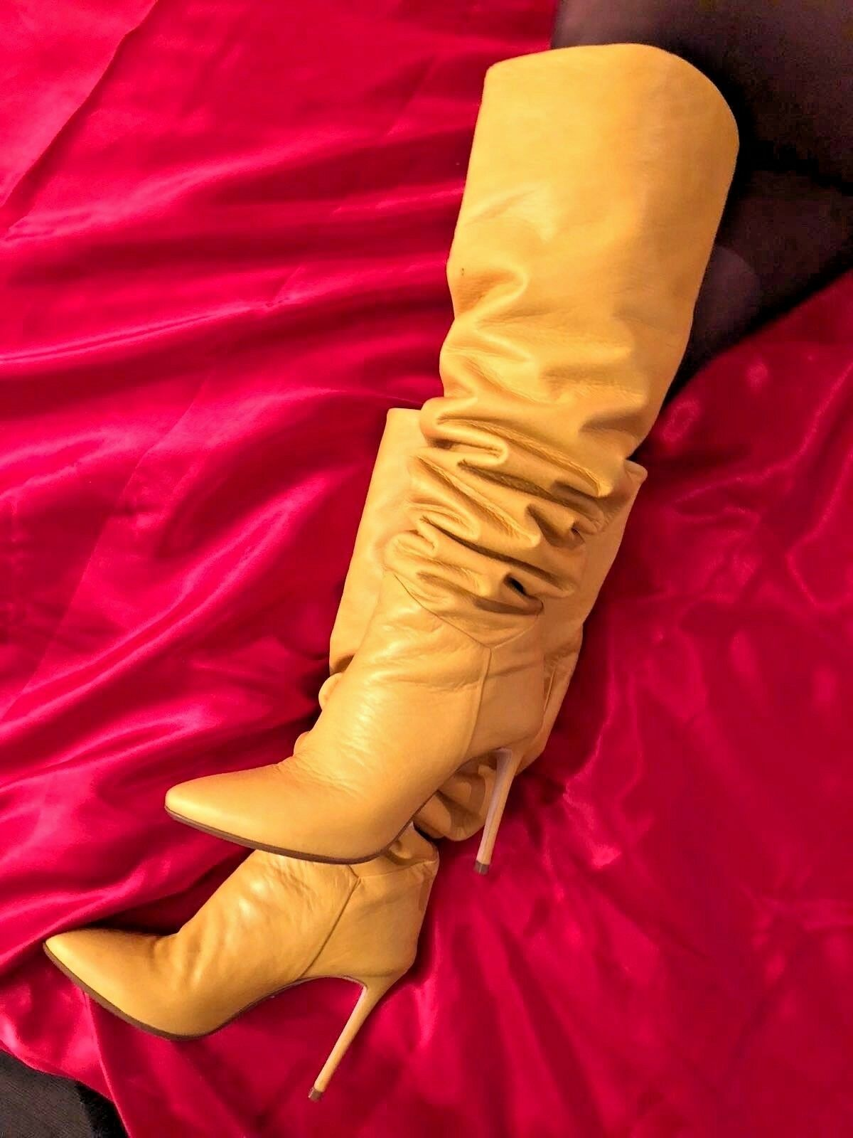 Grandes zapatos con descuento CQ COUTURE ITALY CUSTOM OVERKNEE BOOTS STIEFEL STIVALI LEATHER YELLOW GIALLO 37