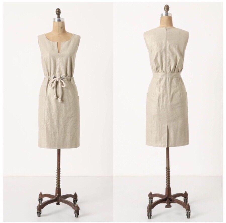 Maeve Anthropologie Flaxen Linen Dress Rope Drawsteing Summer Dress Size 2