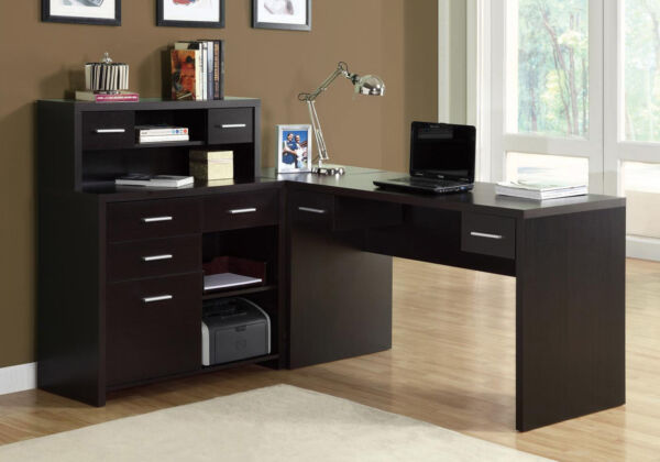 Monarch Specialties 7018 L Shaped Home Office Desk In Cappuccino Hollow Core