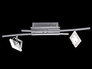 led deckenstrahler spotschiene 2 flammig dimmbar deckenlampe deckenbogen chrom ebay. Black Bedroom Furniture Sets. Home Design Ideas
