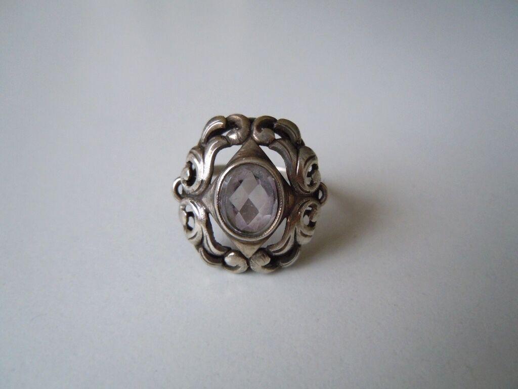 835 silver Ring mit Amethyst 4,6 g   RG 58