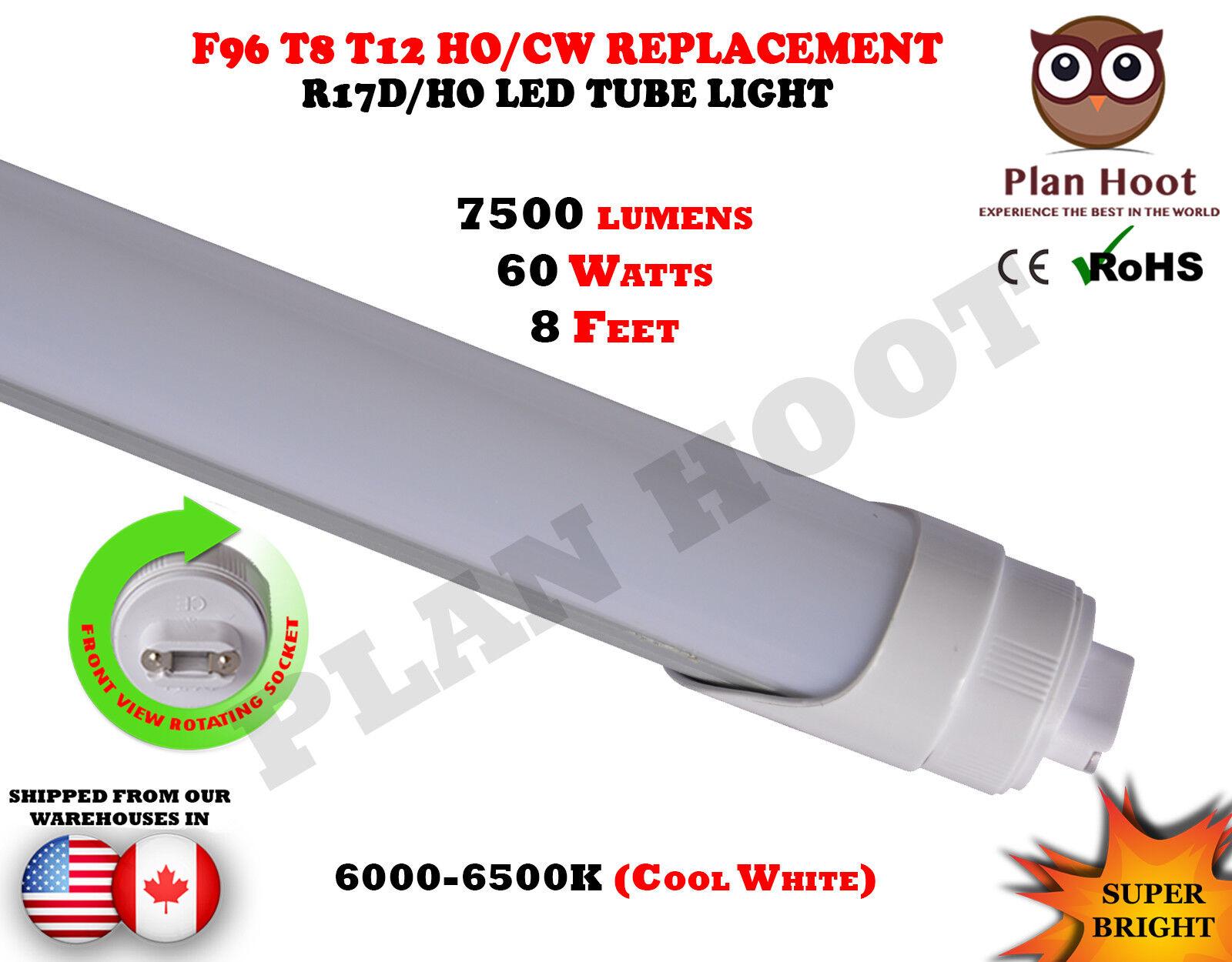 F96T12 T8 R17D HO 8 FT 60 Watt MILKY Lens LED Fluorescent Replacement Tube Light