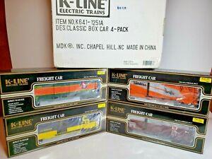 K-Line-K641-1251A-Classic-4-Car-Boxcar-Set-New-w-Shipper-C-amp-O-WP-PRR-amp-GN