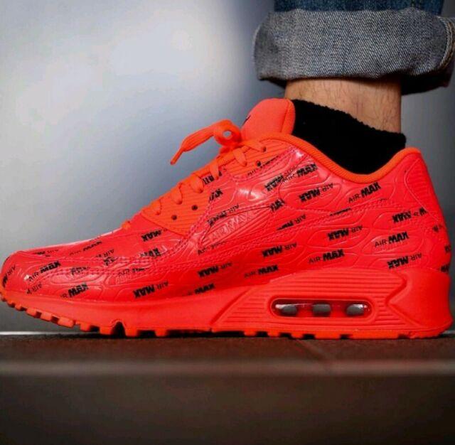 Authentic 10 Mens Nike Air Max 90 Premium Bright Crimson 700155 604 Orange Red