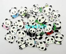 50 Pcs Mixed color Panda Metal Charms pendants DIY Jewellery Making gift