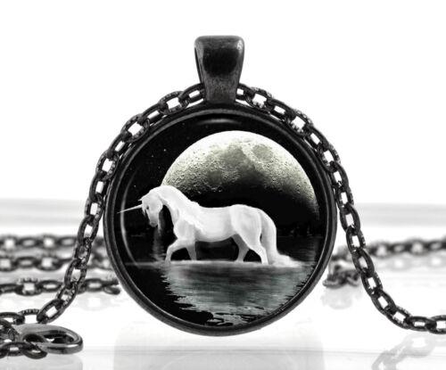Unicorn Necklace Pendant Fantasy White Horse Moon Jewelry Xmas Birthday Gift