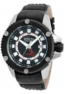 New-Mens-Invicta-19298-Speedway-GMT-Black-Leather-Strap-Watch